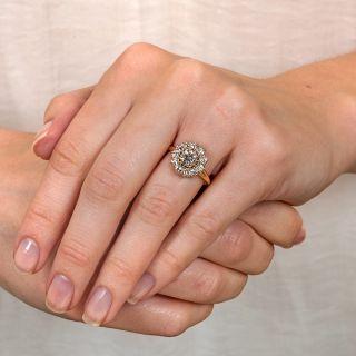 Victorian Style 1.07 Carat Center Diamond Halo Ring