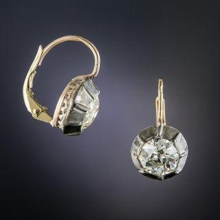 Victorian 3.13 Carats Diamond Drop Earrings