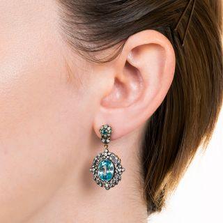 Victorian Style Blue Zircon and Diamond Drop Earrings