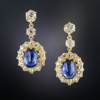 Victorian Style Cabochon Sapphire and Diamond Drop Earrings - 1