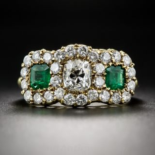 Victorian Style Diamond and Emerald Ring