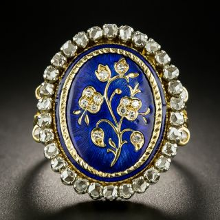 Victorian Style Diamond and Enamel Flower Ring - 2