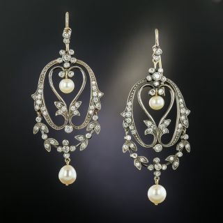 Victorian Style Diamond and Pearl Earrings - 2