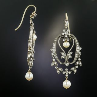 Victorian Style Diamond and Pearl Earrings