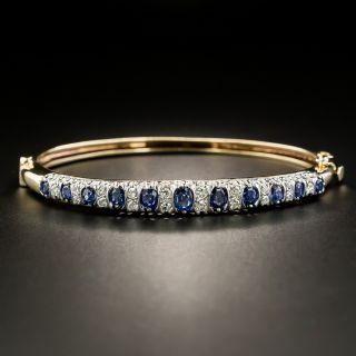 Victorian Style Diamond and Sapphire Hinged Bangle Bracelet - 2