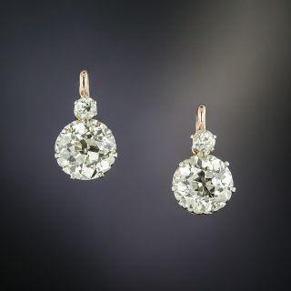 Victorian Style Diamond Drop Earrings - GIA - 2