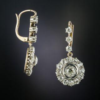 Victorian Style Diamond Drop Earrings - 2