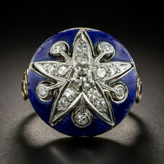Victorian Style Diamond Enamel Ring by Baskin Brothers - 2