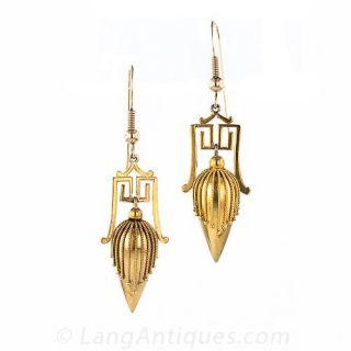 Victorian Style Etruscan Revival Earrings