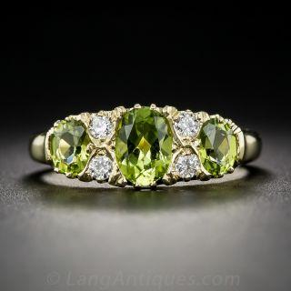 Victorian Style Peridot and Diamond Ring - English - 1