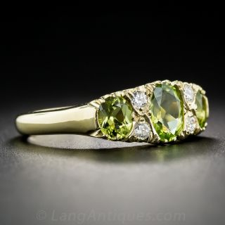 Victorian Style Peridot and Diamond Ring - English
