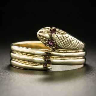 Victorian Style Ruby-Eyed Snake Ring  - 2