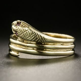 Victorian Style Ruby-Eyed Snake Ring