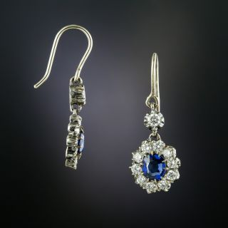 Victorian Style Sapphire and Diamond Cluster Dangle Earrings - 2
