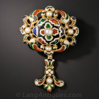Victorian Swiss Enamel and Pearl Pin