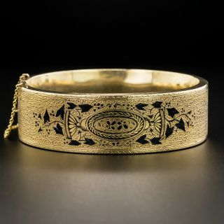 Victorian Taille d'Epargne Enamel Bangle Bracelet - 2