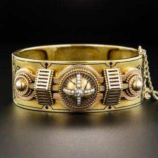 Victorian Taille d'Epargné Enamel Cuff Bracelet