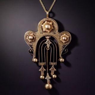 Victorian Taille d'Epargne Enamel Pendant Necklace - 5