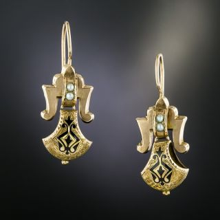 Victorian Taille D'Eparne and Seed Pearl Earrings  - 2