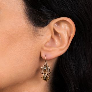 Victorian Taille D'Eparne and Seed Pearl Earrings