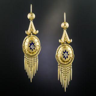 Victorian Tassel Earrings with Diamonds and Enamel - 2