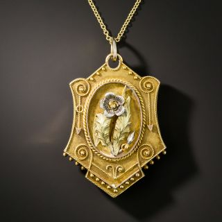 Victorian Tri-Tone Gold Floral Motif Locket - 2
