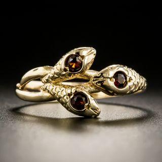 Victorian Triple Head Garnet Snake Ring  - 2