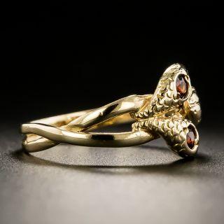 Victorian Triple Head Garnet Snake Ring