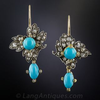 Victorian Turquoise and Diamond Earrings - 1