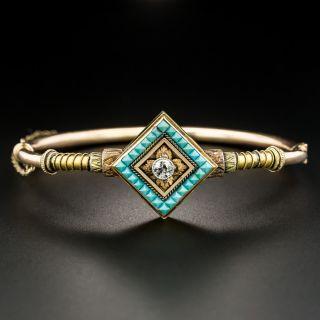 Victorian Turquoise and Diamond Geometric Bangle - 2