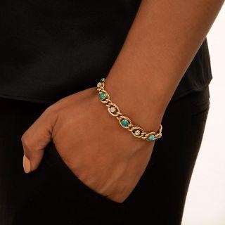 Victorian Turquoise and Diamond Link Bracelet