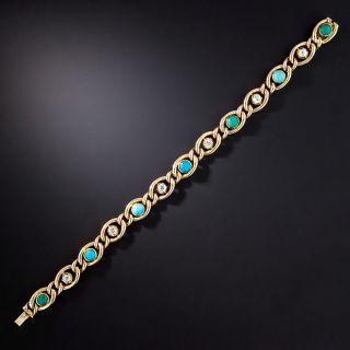 Victorian Turquoise and Diamond Link Bracelet - 1