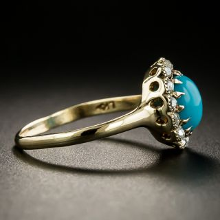 Victorian Turquoise and Diamond Ring by L. Kaufman