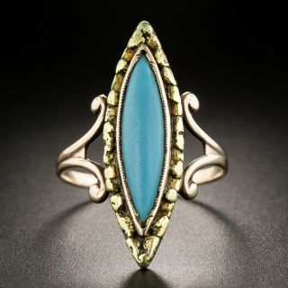 Victorian Turquoise and Gold Nugget Ring - 2
