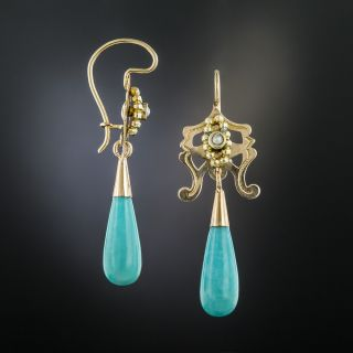 Victorian Turquoise and Pearl Drop Earrings
