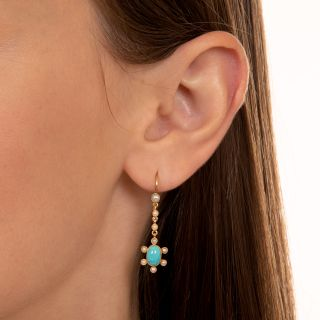 Victorian Turquoise and Seed Pearl Dangle Earrings
