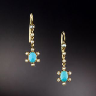 Victorian Turquoise and Seed Pearl Dangle Earrings - 1