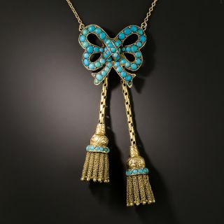 Victorian Turquoise Bow Tassel Necklace - 2