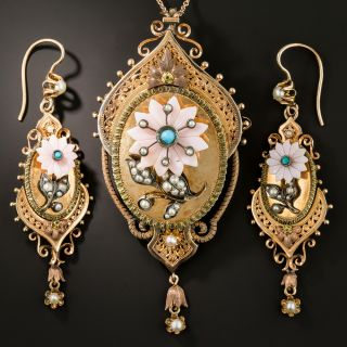 Victorian Turquoise, Coral and Pearl Pendant/Brooch and Earring Suite - 2
