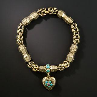 Victorian Turquoise Locket Bracelet - 2