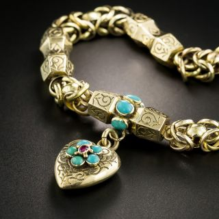 Victorian Turquoise Locket Bracelet