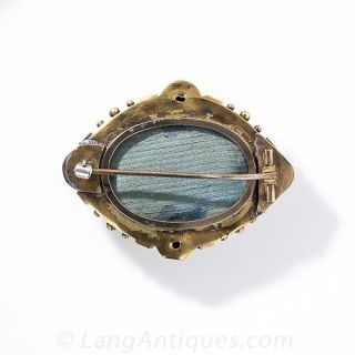 Victorian Turquoise Memorial Locket Brooch