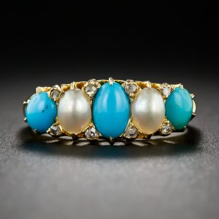 Victorian Turquoise, Natural Pearl and Diamond Ring - England c.1903 - 6