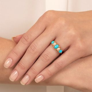 Victorian Turquoise, Natural Pearl and Diamond Ring - England c.1903
