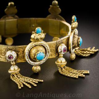 Victorian Turquoise, Ruby and Enamel Tassel Bracelet - 5