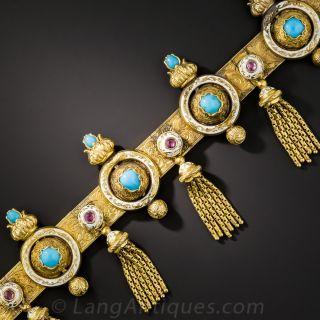 Victorian Turquoise, Ruby and Enamel Tassel Bracelet