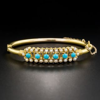 Victorian Turquoise Seed Pearl Bangle Bracelet
