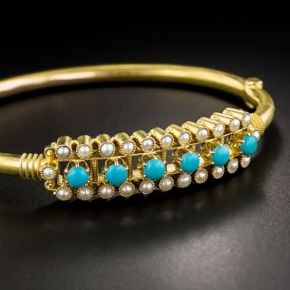 Victorian Turquoise Seed Pearl Bangle Bracelet - 4
