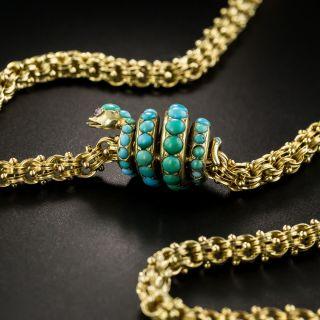 Victorian Turquoise Snake Pendant - 4