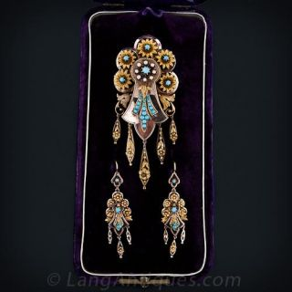Victorian Turquoise Suite of Pin/Pendant and Earrings - 1